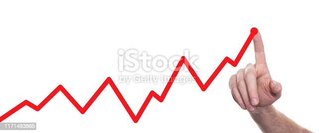 istock Hands drawing line chart and business strategy. Success concept 1171493865