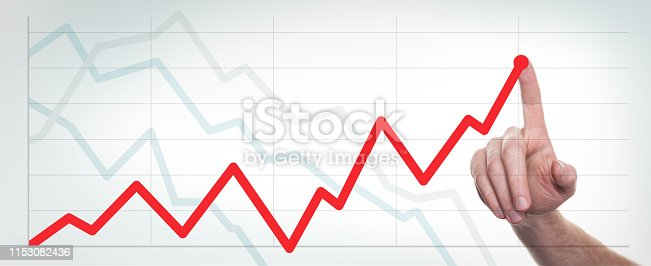 istock Hands drawing up and down line chart and business strategy. 1153082436