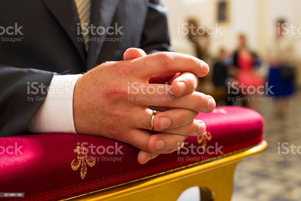 Hands fiancé stock photo