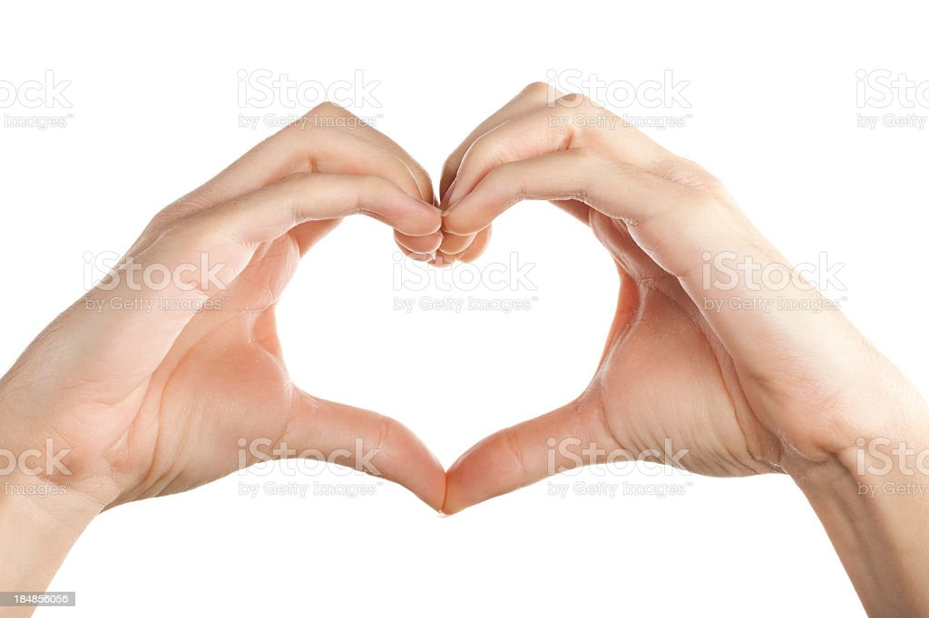 Hands forming a heart isolated on white stock photo