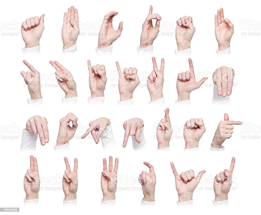 Hands forming the international sign language stock photo