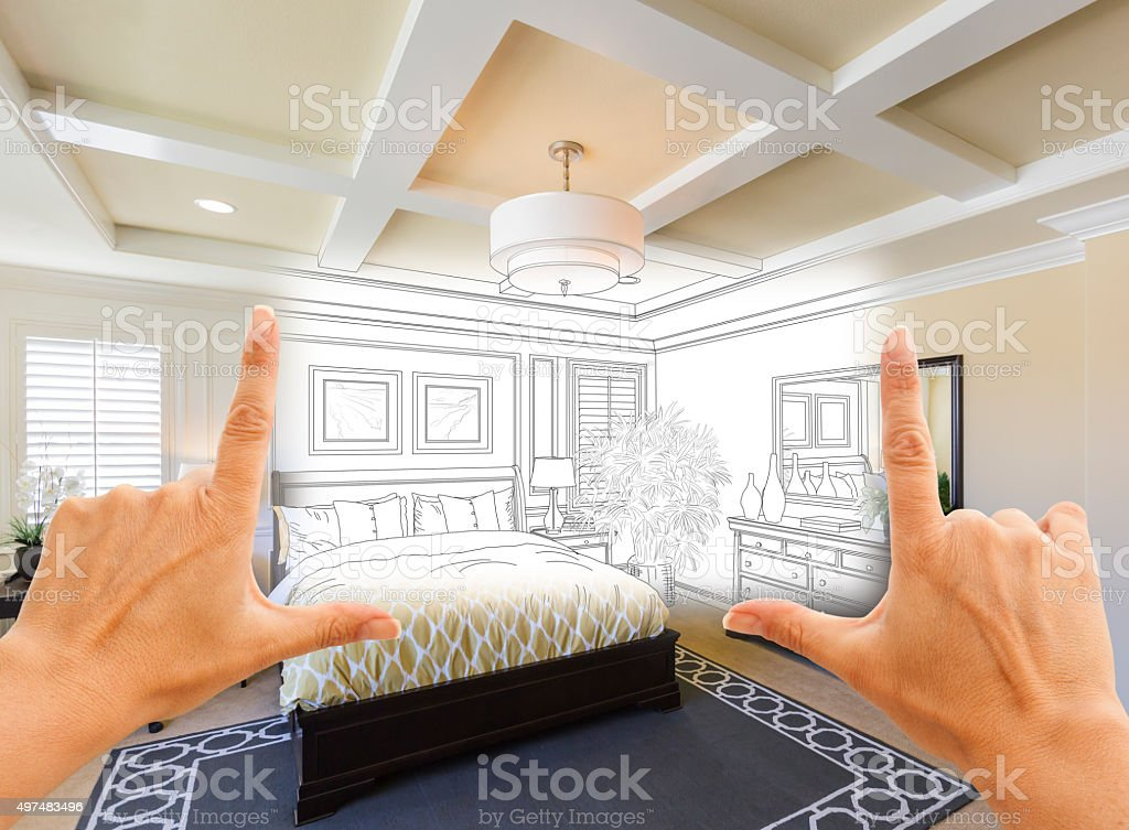 Hands Framing Custom Bedroom Drawing Photograph Combination stock photo