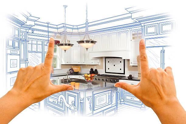hände, die rahmung individuelle küche design drawing and photo combinatio - küche neu gestalten ideen stock-fotos und bilder