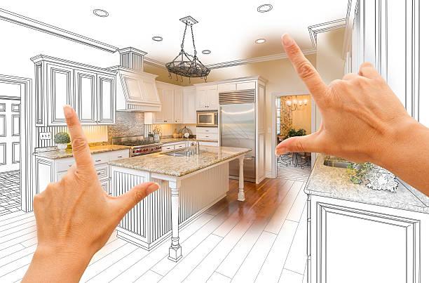 hände, die rahmung individuelle küche design zeichnen und foto-combo - küche neu gestalten ideen stock-fotos und bilder