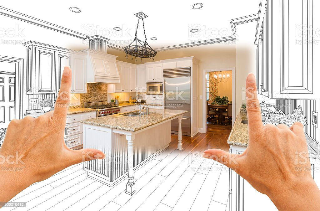Hands Framing Custom Kitchen Design Drawing and Square Photo Combo stock photo
