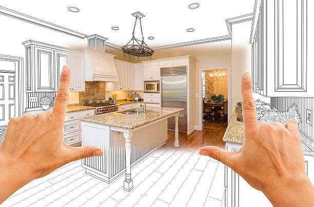 hands framing custom kitchen design drawing and square photo combo - husutbyggnad bildbanksfoton och bilder