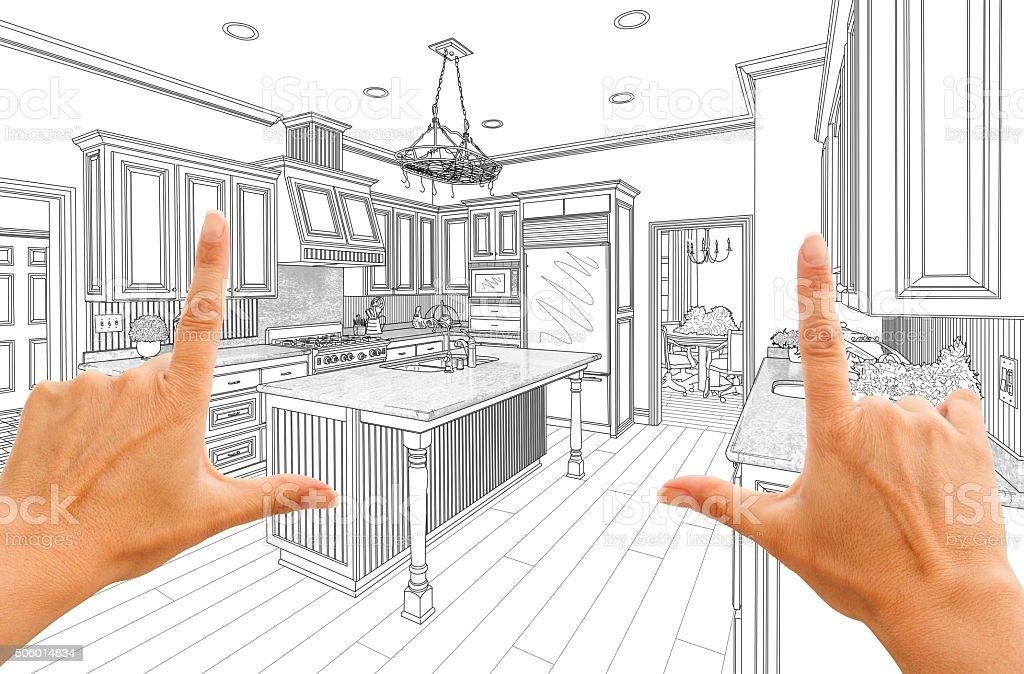 Mano Disegno Disegno Di Cucina In Una Cornice Personalizzata - Foto ...