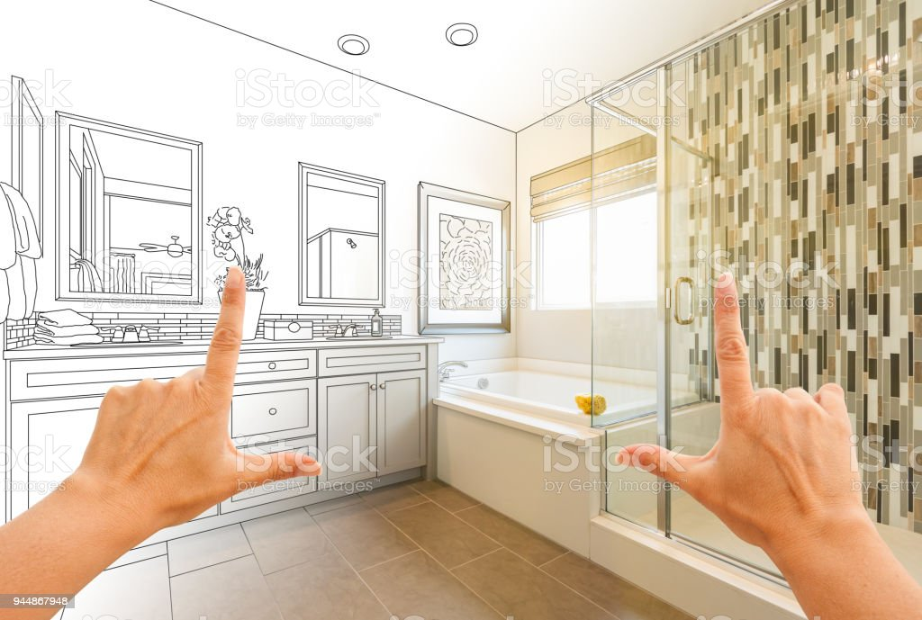 Hands Framing Custom Master Bathroom Drawing and Photo Gradation stock photo