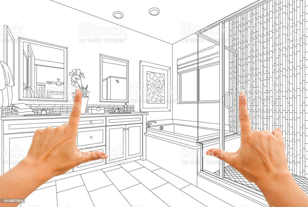 Hands Framing Custom Master Bathroom Drawing stock photo
