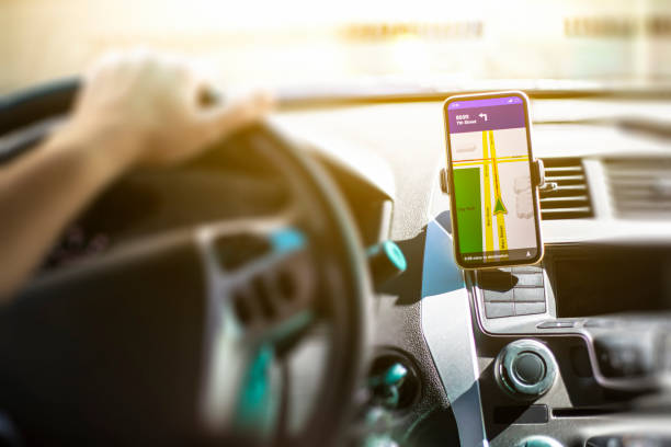 Hands Free Smart Phone in a car stock photo
