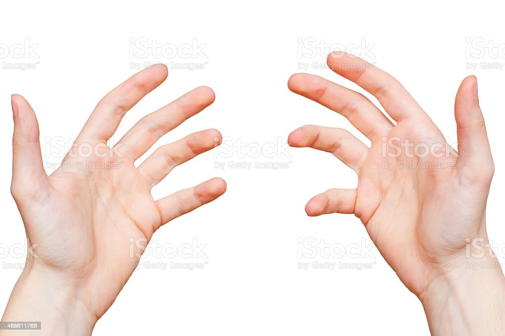 Hands from first person point of view stock photo