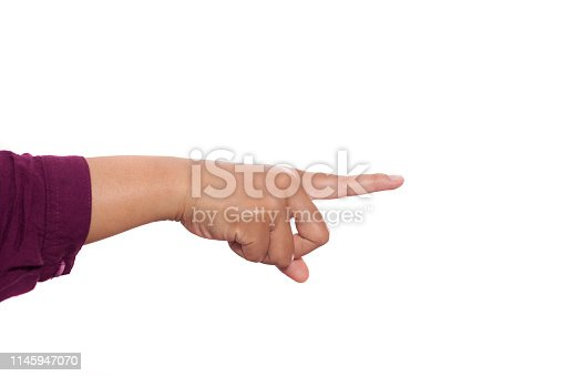 Hands gesture set isolated on white, pointing forward signs concept with copy space