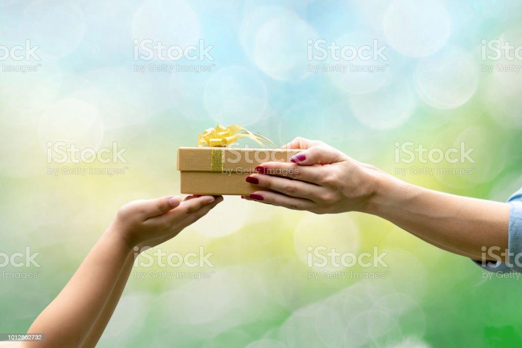 Hände Geben Ein Geschenk Glückwünsche Danke Grünen