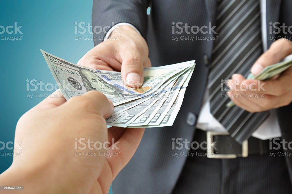 Hands Giving Receiving Money United States Dollars Stock
