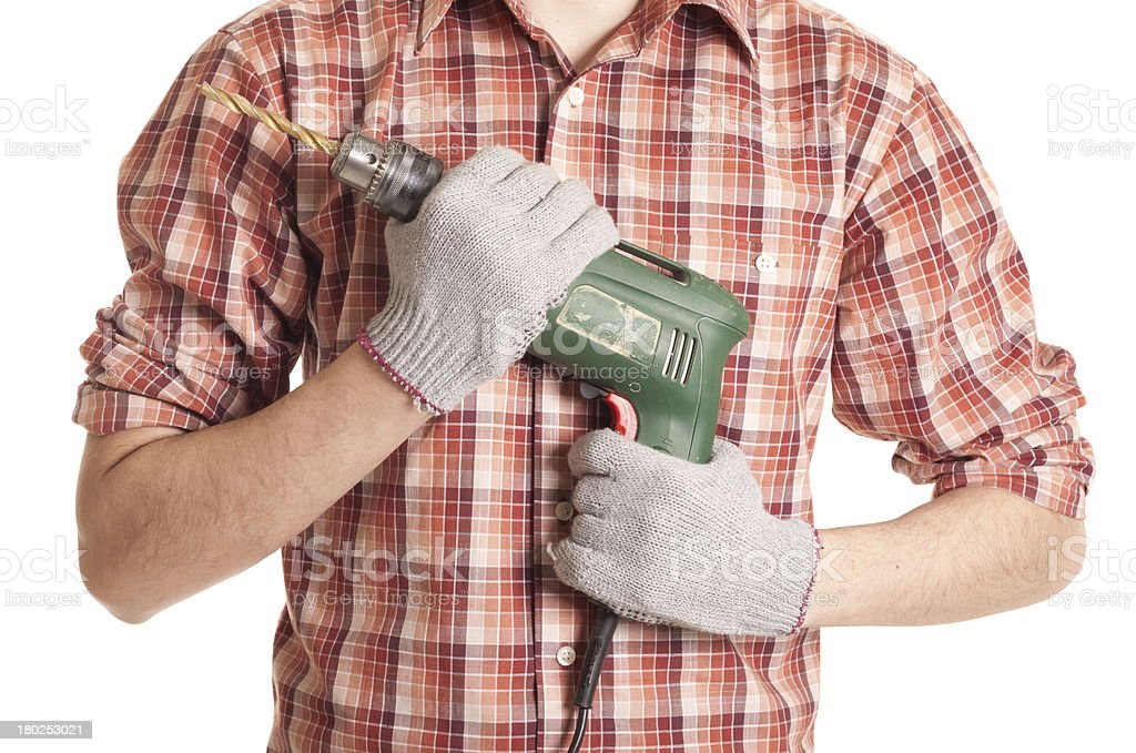 hands handling an electric drilling machine royalty-free stock photo
