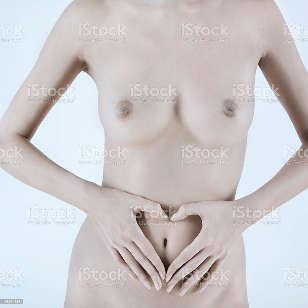 hands heart shape on naked belly button royalty-free stock photo