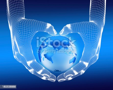 836972316 istock photo hands holding a 3D model of the Earth 180508888