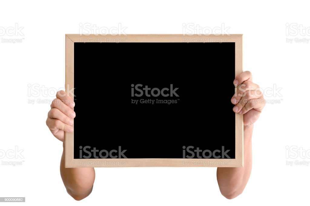 Hands holding a blackboard to showing black space, isolated on white background. stock photo