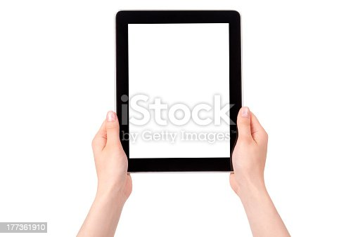 863476202 istock photo Hands holding a blank screen tablet 177361910