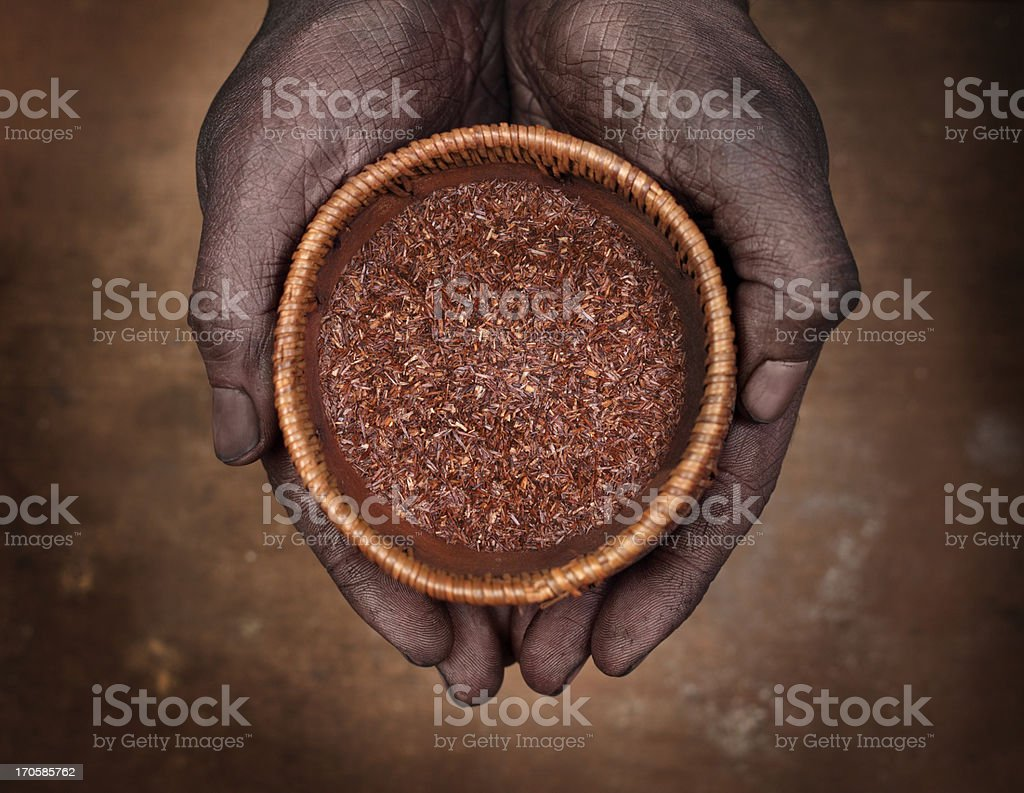 Hands holding a bowl with rooibos tea stock photo