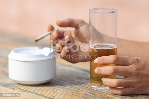 istock Hands holding a cigarette smoking and drinking alcohol 493653874