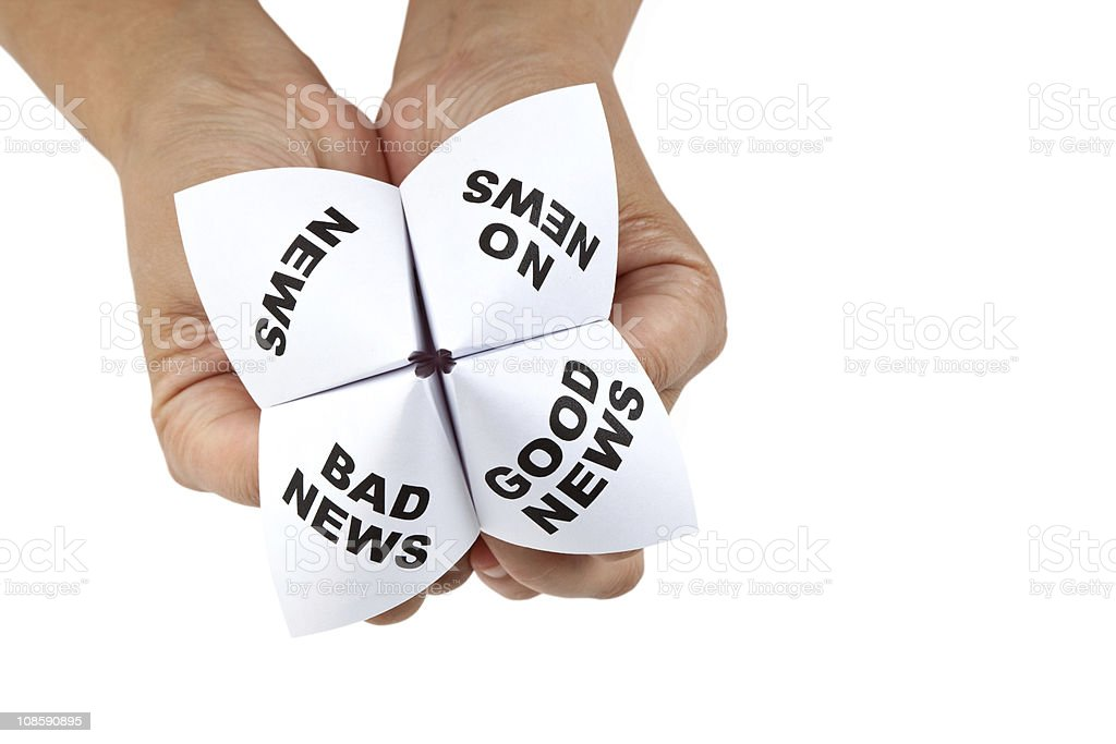 Hands holding a cootie catcher with news possibilities stock photo