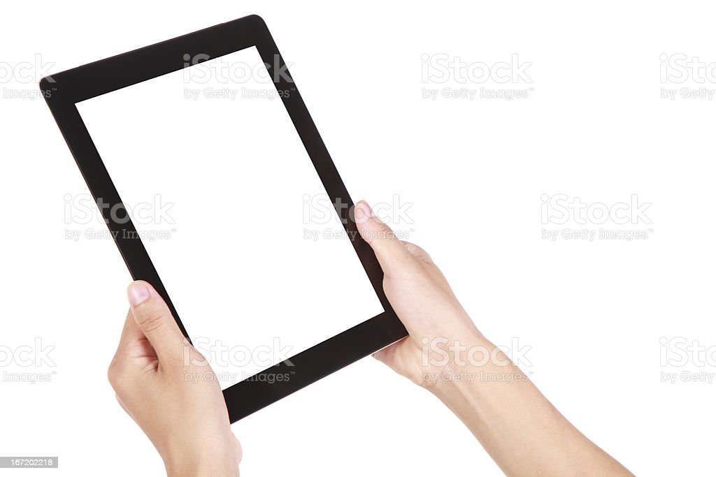 Hands holding a digital tablet royalty-free stock photo