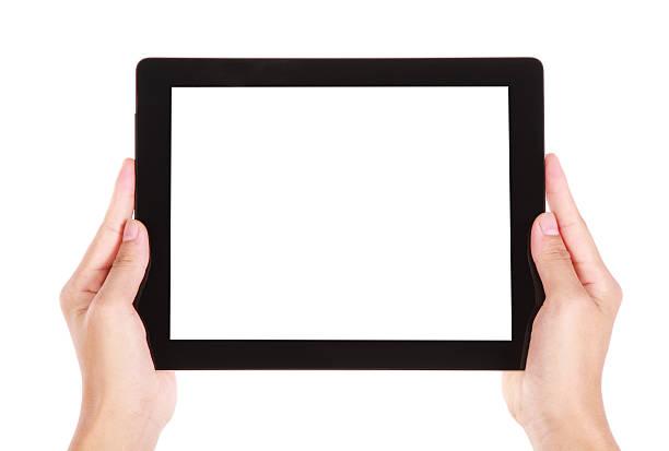 Hände holding einen tablet PC – Foto