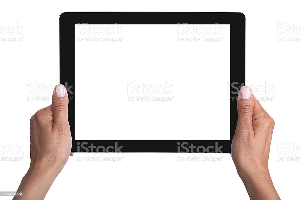 Hands holding a digital tablet which has a blank screen royalty-free stock photo