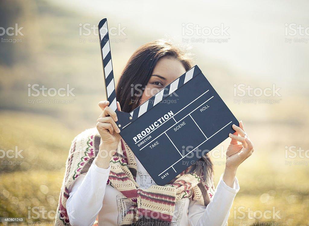 Hand hält ein Film Schindel – Foto