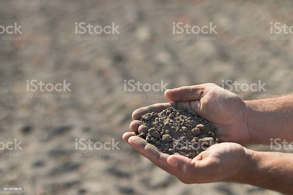 Hands holding a pile of soil above the ground. stock photo