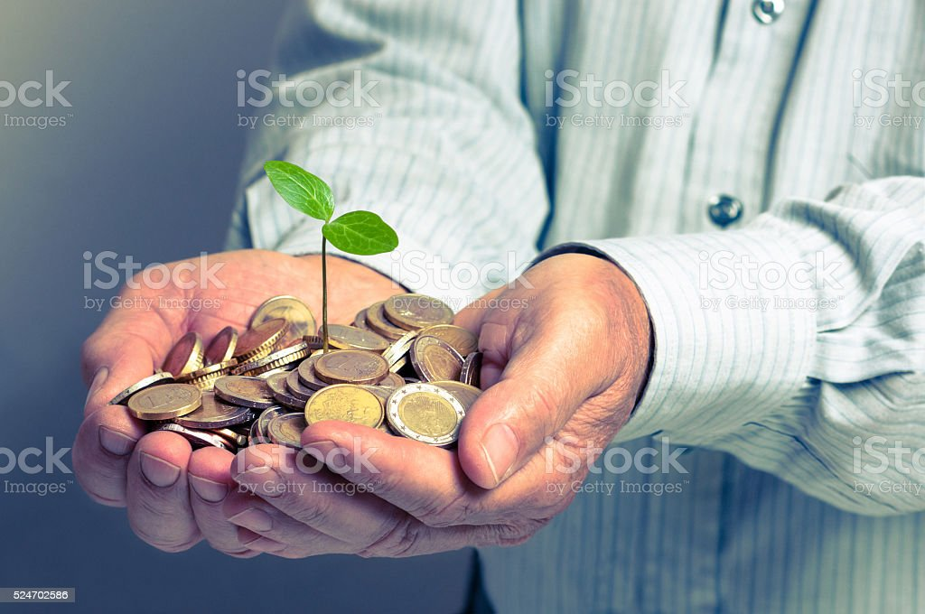 Hands Holding A Plant Growing From A Pile Of Coins stock photo