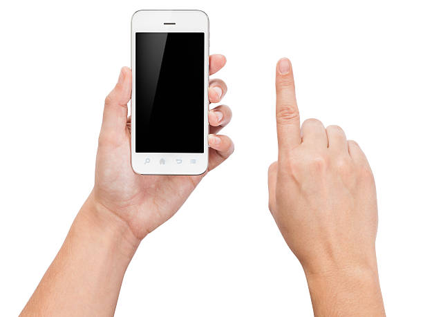 Hands Holding a Smartphone (Isolated on White) stock photo