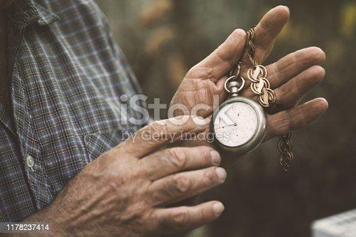 Hands holding a vintage pocket watch
