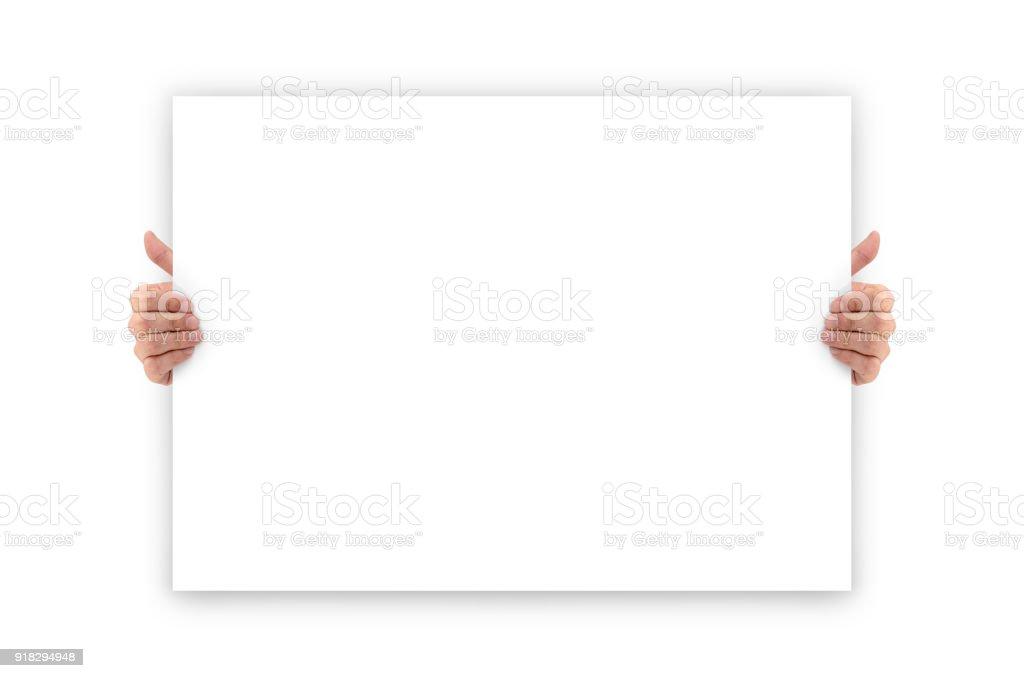 Mains tenant une bannière publicitaire blanc vide - Photo