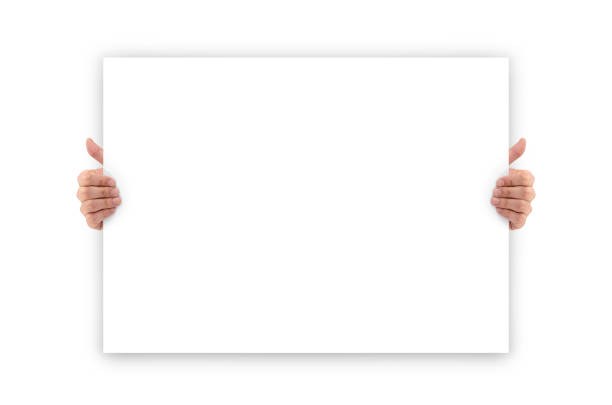 Hands holding an empty white advertising banner stock photo
