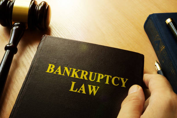 Hands holding Bankruptcy Law in a court. stock photo