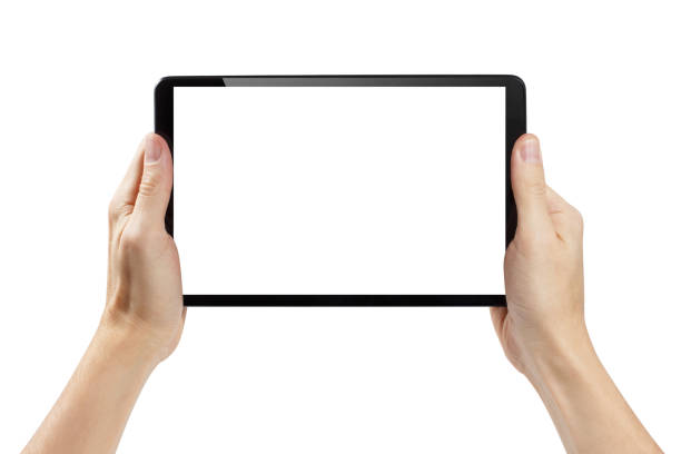 Hands holding black tablet on white Hands holding black tablet, isolated on white background ipad stock pictures, royalty-free photos & images