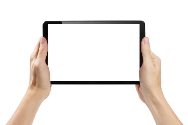 白に黒いタブレットを持つ手 - タブレット端末 ストックフォトと画像