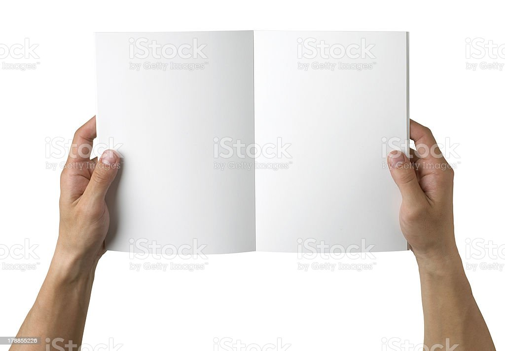 hands holding  blank book copy space,isolated , path stock photo