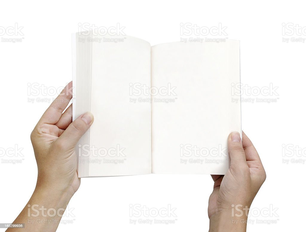 Hands Holding Blank Book+Clipping Path stock photo