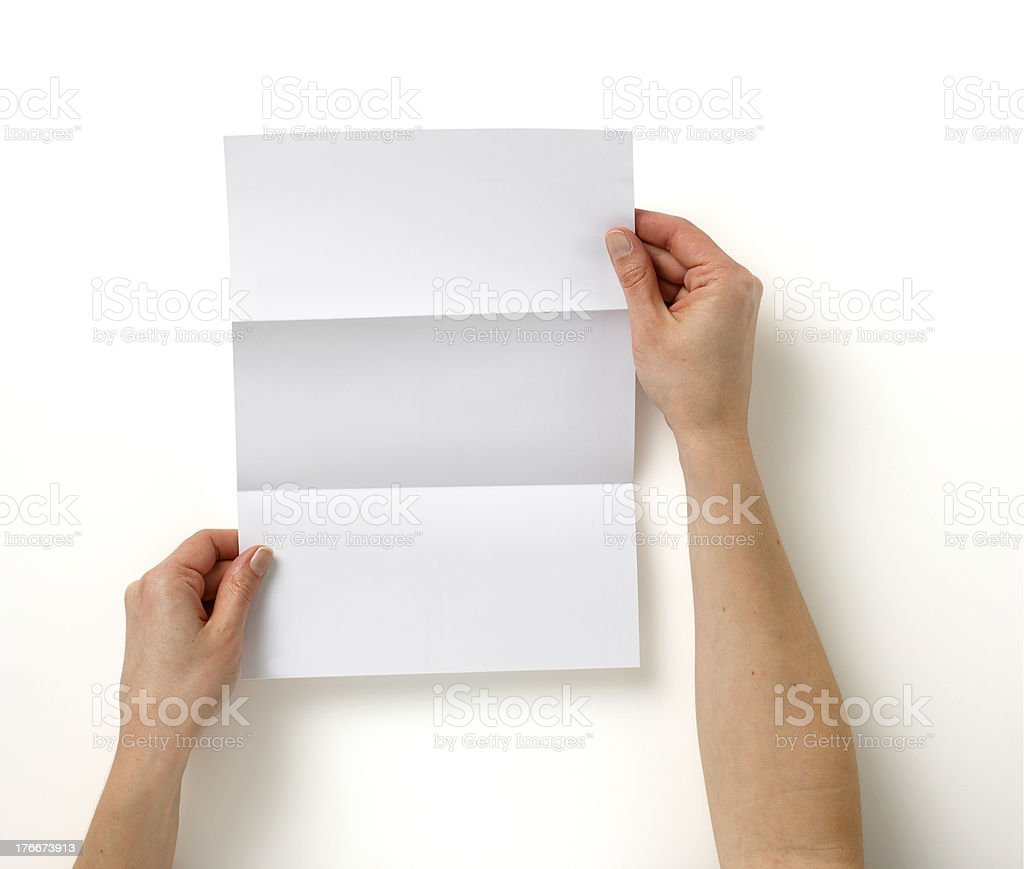 hands holding  blank letter copy space,isolated  path stock photo