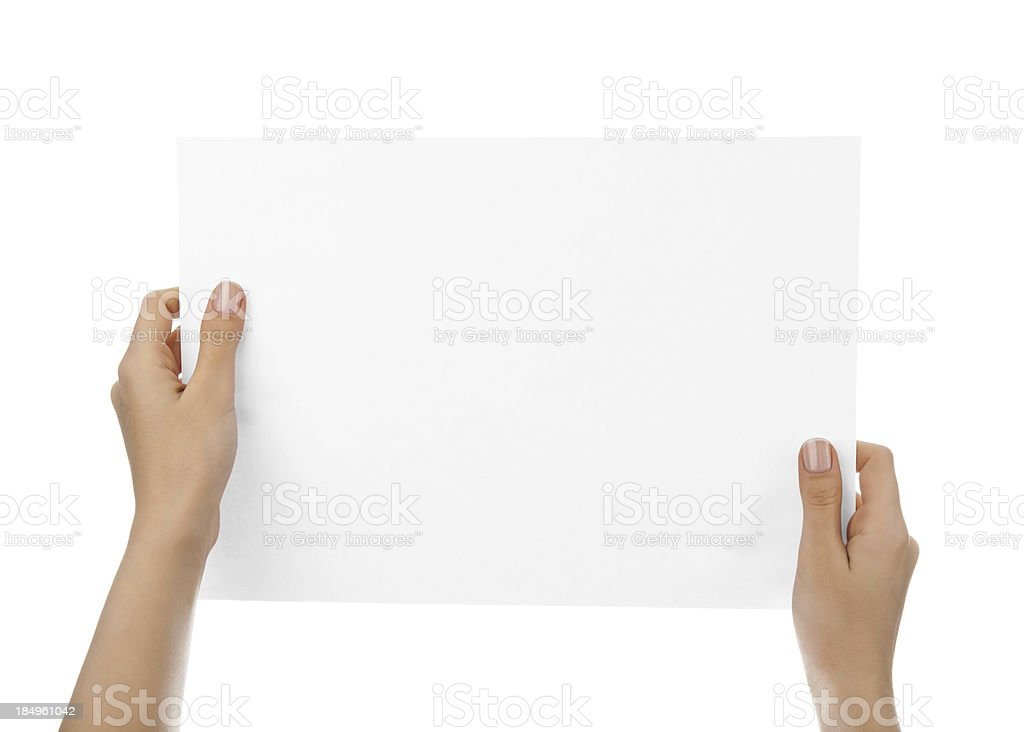 Hands holding blank paper royalty-free stock photo
