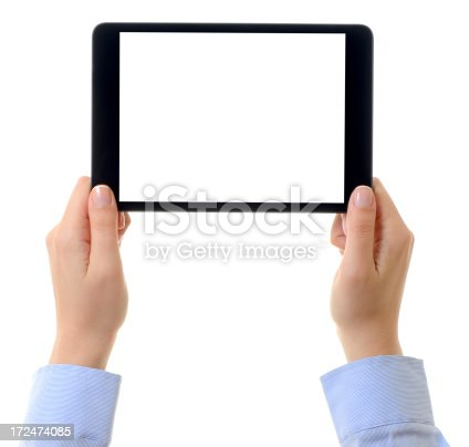 928855610istockphoto Hands holding blank screen tablet pc 172474085