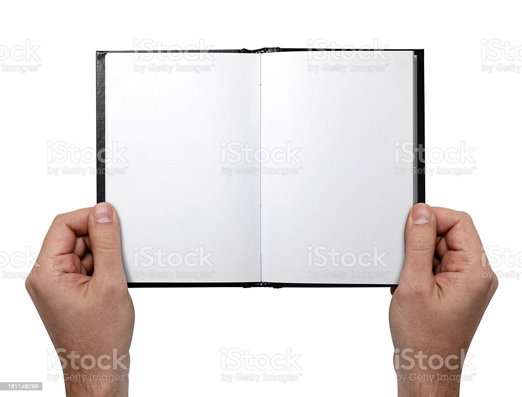 Hands Holding Book With Two Clipping Paths royalty-free stock photo