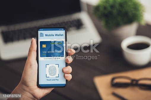 Digital mobile wallet concept. Hands holding cell phone with online pay app, easy shopping
