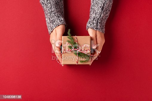 istock Hands holding Christmas gift box. 1048398138