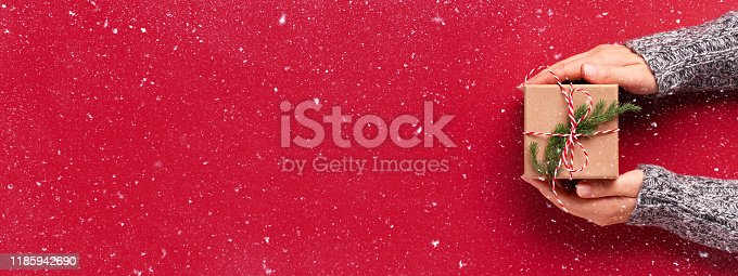 Female's hands in pullover holding Christmas gift box decorated with evergreen branch on red background with snow. Christmas and New Year banner.