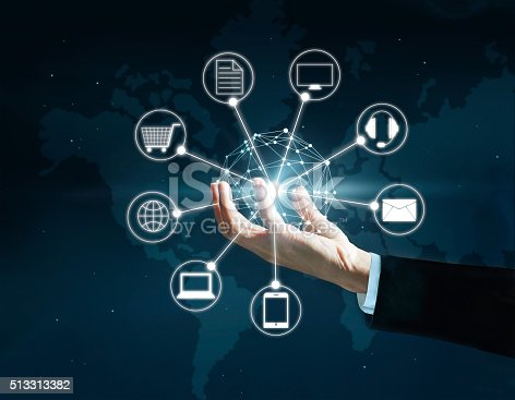 613550706 istock photo Hands holding circle global network connection, Omni Channel 513313382