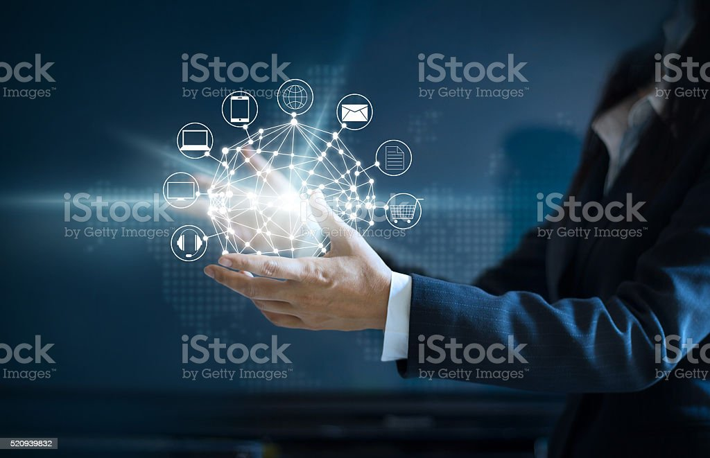 Hands holding circle global network connection, Omni Channel stock photo